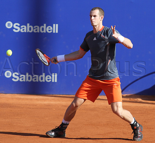 26.04.2012. Barcelona, Spain.ATP Barcelona Open Banc Sabadell- mens doubles. Andy and Jamie Murray versus Jean-julien Rojer and Aisam-Ul-Haq Qureshi.     Picture shows Andy Murray (GBR)