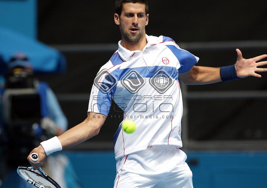 Novak Djokovic (SRB) v Viktor Troicki (SRB)<br /> Men's Singles - Day 5<br /> Tennis - Australian Open 2011<br /> Melbourne Park<br /> Melbourne, Victoria, Australia<br /> 17 - 30 January 2011<br /> © Sport the library