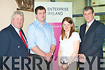ENTERPRISE WORKSHOP: Attending the Enterprise Ireland Workshop in InnovationWorks building at the Institute of Technology, Tralee on Thursday l-r: Terry Harmer (N.L.C. Training), Mike McAuliffe (C.M.C. Soft Solutions), Mary Wixted (Enterprise Ireland) and Mike Friel (Enterprise Ireland).