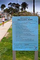 Santa Monica, Palisades, Park, Santa Monica, CA, Sign, Park Rules Restrictions