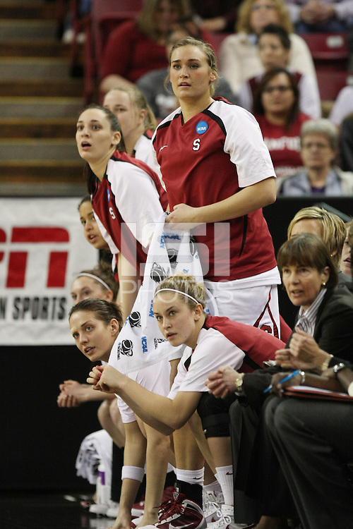 SACRAMENTO, CA - MARCH 29: Michelle Harrison, Grace Mashore, Ashley Cimino, Joslyn Tinkle and JJ Hones during Stanford's 55-53 win over Xavier in the NCAA Women's Basketball Championship Elite Eight on March 29, 2010 at Arco Arena in Sacramento, California.