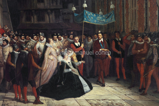 The Duchesse de Nemours reclaims the body of her son the Duc de Guise from Henri III, oil painting on canvas, 1864, by Arnold Scheffer, 1839-73, in the Salle du Conseil or Council Room, the site of the assassination of the Duc de Guise in 1588, on the second floor of the Francois I wing, built early 16th century in Italian Renaissance style, at the Chateau Royal de Blois, built 13th - 17th century in Blois in the Loire Valley, Loir-et-Cher, Centre, France. The murder is retold in several 19th century paintings hung in the room. The chateau has 564 rooms and 75 staircases and is listed as a historic monument and UNESCO World Heritage Site. Picture by Manuel Cohen