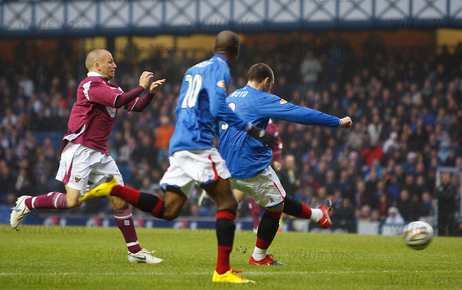 Kris Boyd races in to score the opening goal of the game within the first minute
