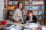 Milano, 18 aprile 2012,Casa editrice Mursia Fiorenza Mursia nel suo studio con la figlia Huguette