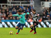 4th November 2017, St James Park, Newcastle upon Tyne, England; EPL Premier League football, Newcastle United Bournemouth; Jordon Ibe of AFC Bournemouth and Javi Manquillo of Newcastle United in a tussle for the ball in the second half