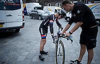 Lars Van der Haar (NLD/Giant-Alpecin) needing a minute after finishing the prologue<br /> <br /> stage 1: prologue<br /> Ster ZLM Tour 2015