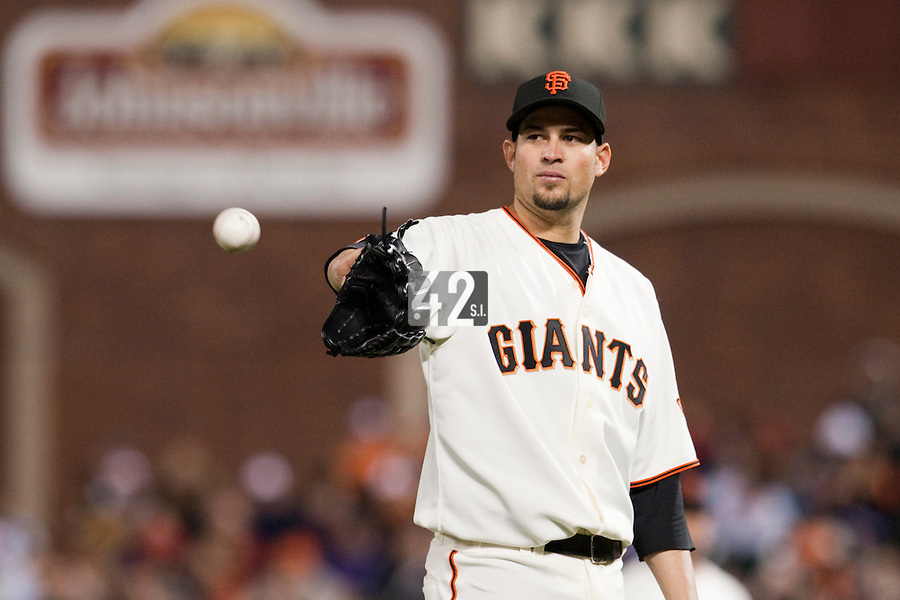 17 April 2009: San Francisco Giants starter Jonathan Sanchez pitches against the Arizona Diamondbacks during the San Francisco Giants' 2-0 win against the Arizona Diamondbacks at AT&T Park in San Francisco, CA.