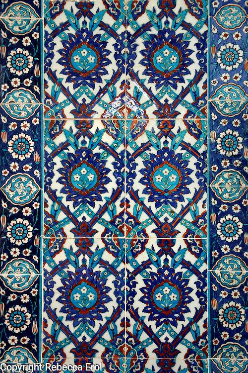 Iznik tiles at the Rustem Pasha Mosque, Istanbul, Turkey