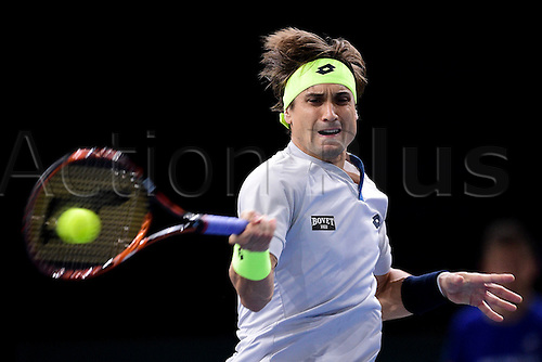 06.11.2015. Paris, France BNP Paribas Master Tennis, Bercy. Semi-finals match between Andy Murray( GBR) and david Ferrrer.  David Ferrer (Esp) returns
