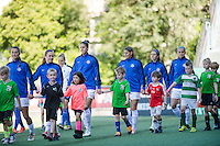 Seattle, WA - Sunday, May 1, 2016: FC Kansas City during the opening ceremony prior to a National Women's Soccer League (NWSL) match at Memorial Stadium. Seattle won 1-0.