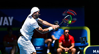 5th January 2020; RAC Arena, Perth, Western Australia; ATP Cup Australia, Perth, Day 3; Italy versus Norway; Viktor Durasovic of Norway plays a backhand shot from the baseline against Stefano Travaglia of Italy - Editorial Use