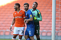 Photographer Stephen White/CameraSport<br /> <br /> The EFL Sky Bet League One - Blackpool v Rochdale - Saturday 6th October 2018 - Bloomfield Road - Blackpool<br /> <br /> World Copyright © 2018 CameraSport. All rights reserved. 43 Linden Ave. Countesthorpe. Leicester. England. LE8 5PG - Tel: +44 (0) 116 277 4147 - admin@camerasport.com - www.camerasport.comBlackpool's Liam Feeney closely marked by Rochdale's Joe Rafferty and goalkeeper Josh Lillis as they jostle for position for a corner kick<br /> <br /> Photographer Stephen White/CameraSport<br /> <br /> The EFL Sky Bet League One - Blackpool v Rochdale - Saturday 6th October 2018 - Bloomfield Road - Blackpool<br /> <br /> World Copyright © 2018 CameraSport. All rights reserved. 43 Linden Ave. Countesthorpe. Leicester. England. LE8 5PG - Tel: +44 (0) 116 277 4147 - admin@camerasport.com - www.camerasport.com