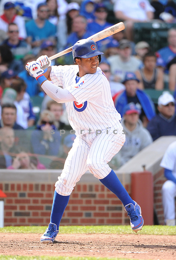 Chicago Cubs Starlin Castro (13) during a game against the Cincinnati Reds on May 5, 2013 at Wrigley Field in Chicago, IL. The Reds beat the Cubs 7-4.