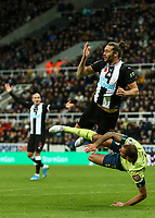 9th November 2019; St James Park, Newcastle, Tyne and Wear, England; English Premier League Football, Newcastle United versus AFC Bournemouth; Andy Carroll of Newcastle United holds his head after his is kicked in the head by Steve Cook of AFC Bournemouth when he attempted an overhead kick - Strictly Editorial Use Only. No use with unauthorized audio, video, data, fixture lists, club/league logos or 'live' services. Online in-match use limited to 120 images, no video emulation. No use in betting, games or single club/league/player publications