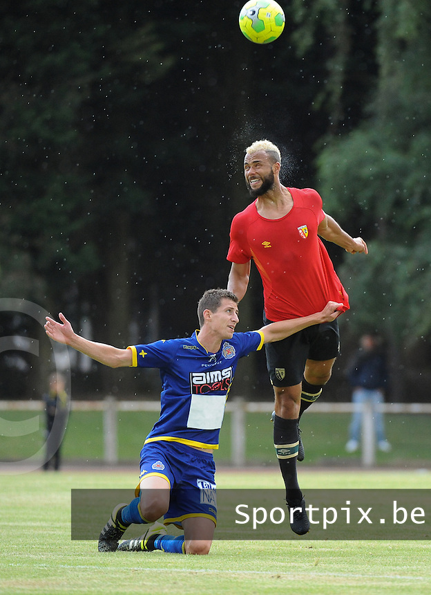 20160713 - DOUAI , FRANCE : RC Lens' John Bostock (R) and Waasland Beveren's Jens Cools (L) pictured during a friendly game between Racing Club de LENS and Waasland Beveren during the preparations for the 2016-2017 season , Wednesday 13 July 2016 ,  PHOTO Dirk Vuylsteke | Sportpix.Be