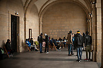 Some African migrants sheltered from the cold under the arches of Irun City Council. Irun (Basque Country). October 28, 2018. A group of volunteers has created a host network to serve migrants and inform about the public services they are entitled to and the ways to cross the border. This group of volunteers is avoiding a serious humanitarian problem Irun, the Basque municipality on the border with Hendaye. As the number of migrants arriving on the coasts of southern Spain incresead, more and more migrants are heading north to the border city of Irun. French authorities have reacted by conducting random checks as far as the city of Bordeaux, more than 200 kilometers north of the border. Migrants who are caught are then deported back to Irun. (Gari Garaialde / Bostok Photo).