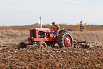 Antique tractors plowing a field in fall during the Branch 158 EDGE & TA Fall Plow Day and Plowing Seminar near Pleasant Grove, Calif...Silmer Scheidel Farm..C. 1950 Allis-Chalmers WD tractor
