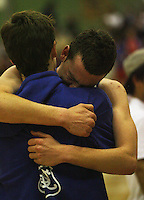Jacob Ashley is overcome with emotion after the victory during the NZ Secondary Schools Basketball Championships match between Fraser High School and St Patricks College at Arena Manawatu, Palmerston North, New Zealand on Saturday 4 October 2008. Photo: Dave Lintott / lintottphoto.co.nz