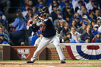 Cleveland Indians Roberto Perez (55) bats in the seventh inning during Game 3 of the Major League Baseball World Series against the Chicago Cubs on October 28, 2016 at Wrigley Field in Chicago, Illinois.  (Mike Janes/Four Seam Images)