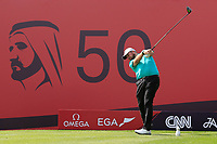 Shane Lowry (IRL) on the 2nd tee during Round 3 of the Omega Dubai Desert Classic, Emirates Golf Club, Dubai,  United Arab Emirates. 26/01/2019<br /> Picture: Golffile | Thos Caffrey<br /> <br /> <br /> All photo usage must carry mandatory copyright credit (© Golffile | Thos Caffrey)