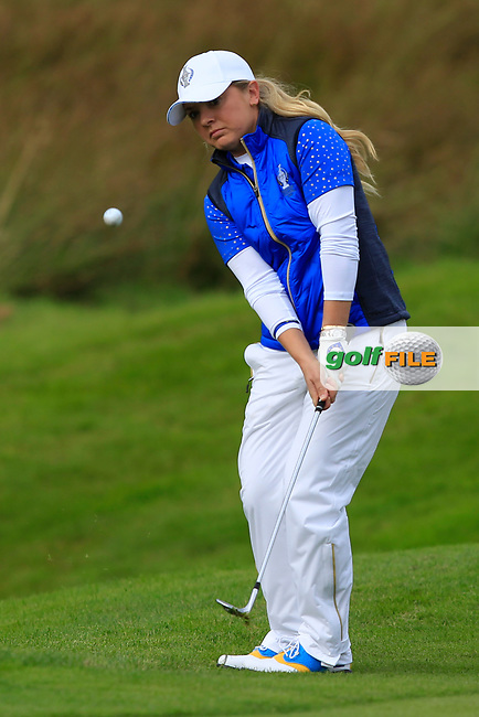 Bronte Law (EUR) on the 1st green during Day 3 Singles at the Solheim Cup 2019, Gleneagles Golf CLub, Auchterarder, Perthshire, Scotland. 15/09/2019.<br /> Picture Thos Caffrey / Golffile.ie<br /> <br /> All photo usage must carry mandatory copyright credit (© Golffile | Thos Caffrey)