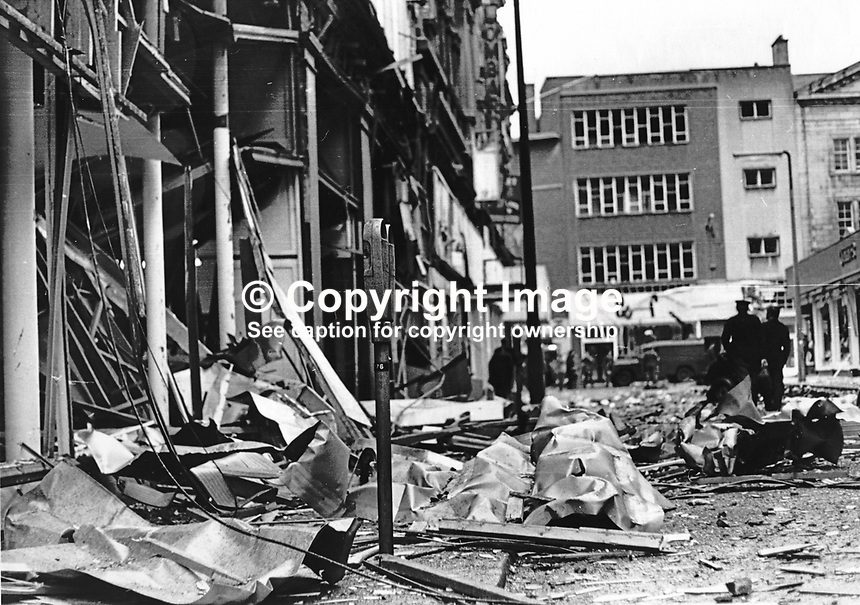 Scene of Provisional IRA explosion in Lombard Street, Belfast, N Ireland on 10th July 1972. Among the city centre premises damaged was the office of the Irish Times, Dublin. 197207100562 <br />