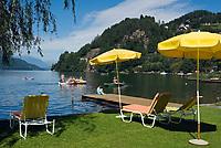 Oesterreich, Kaernten, Millstaetter See, Doebriach: Romantik Hotel Seefischer, Liegewiese | Austria, Carinthia, Lake Millstatt, Doebriach: Romantik Hotel Seefischer, lawn