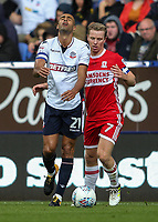 Bolton Wanderers' Darren Pratley cannot believe a decision had gone against him after competing with Middlesbrough's Grant Leadbitter<br /> <br /> Photographer Andrew Kearns/CameraSport<br /> <br /> The EFL Sky Bet Championship - Bolton Wanderers v Middlesbrough - Saturday 9th September 2017 - Macron Stadium - Bolton<br /> <br /> World Copyright &copy; 2017 CameraSport. All rights reserved. 43 Linden Ave. Countesthorpe. Leicester. England. LE8 5PG - Tel: +44 (0) 116 277 4147 - admin@camerasport.com - www.camerasport.com