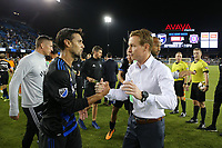 San Jose, CA - Saturday September 16, 2017: Chris Wondolowski, Chris Leitch after a Major League Soccer (MLS) match between the San Jose Earthquakes and the Houston Dynamo at Avaya Stadium.