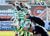 17th March 2019, Dens Park, Dundee, Scotland; Ladbrokes Premiership football, Dundee versus Celtic; Timothy Weah of Celtic jumps on Odsonne Edouard of Celtic after he scored a 96th minute goal to make it 1-0 to Celtic
