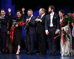 James Graham, Diane Paulus, Garry Barlow, Harvey Weinstein, Matthew Morrison and Laura Michelle Kelly during the Broadway Opening Night Performance curtain call for  'Finding Neverland'  at The Lunt-Fontanne  Theatre on April 15, 2015 in New York City.