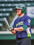 16 June 2014: Vermont Lake Monsters catcher Kyle Wheeler awaits his turn in the batting cage prior to a game against the Connecticut Tigers at Centennial Field in Burlington, Vermont. The Lake Monsters fell to the Tigers 3-2 in NY Penn League action. Mandatory Credit: Ed Wolfstein Photo *** RAW Image File Available ****