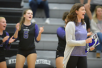 NWA Democrat-Gazette/ANDY SHUPE<br /> Fayetteville coach Jessica Phelan directs her team against Har-Ber Wednesday, Sept. 13, 2017, during play in Bulldog Arena. Visit nwadg.com/photos to see more photographs from the match.