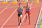 (L-R) <br />  Hiroto Inoue (JPN), <br /> Elhassan Elabbassi (BRN), <br /> AUGUST 25, 2018 - Athletics - Marathon : <br /> Men's Marathon Final <br /> at Gelora Bung Karno Main Stadium <br /> during the 2018 Jakarta Palembang Asian Games <br /> in Jakarta, Indonesia. <br /> (Photo by Naoki Nishimura/AFLO SPORT)