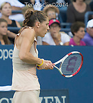 Andrea Petkovic (GER) loses to Caroline Wozniacki (DEN) 6-3, 6-2 at the US Open being played at USTA Billie Jean King National Tennis Center in Flushing, NY on August 29, 2014