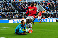 Martin Dubravka of Newcastle United collects as Romelu Lukaku of Manchester United closes in during Newcastle United vs Manchester United, Premier League Football at St. James' Park on 11th February 2018