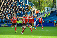 NICE SHOT - JUST NEEDS A TIGHTER CROP.  I'D STILL SUBMIT THIS ONE BUT ALSO A TIGHTER CROP OF THE SAME FRAME - Barnsley's midfielder Harvey Barnes (15) celebrates his strike in the top corner during the Sky Bet Championship match between Sheff Wednesday and Barnsley at Hillsborough, Sheffield, England on 28 October 2017. Photo by Stephen Buckley / PRiME Media Images.