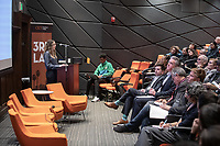 "Becky Gross, Program Manager, Innovation Delivery Team, the Mayor's Office of Budget and Innovation<br /> Occidental College's thought-provoking Third L.A. series presents, ""L.A. House and Home: New Paths in Housing Policy and Residential Architecture"" on Monday, December 2, 2019 in Choi Auditorium and moderated by Christopher Hawthorne, Oxy professor of practice and Chief Design Officer, Design Office, the Mayor's Office of Economic Development.<br /> This 3rd L.A. event brought together policymakers and leading architects as they discussed and summarized L.A.'s homelessness, housing affordability and single-family zoning, which are squarely at the top of the policy agenda across California. Furthermore, Los Angeles is engaged in a growing national conversation around the relationship between good design and good housing and the legacies of redlining and exclusionary zoning.<br /> (Photo by Marc Campos, Occidental College Photographer)"