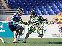 Annapolis, MD - July 7, 2018: New York Lizards Joel Tinney (55) in action during the game between New York Lizards and Chesapeake Bayhawks at Navy-Marine Corps Memorial Stadium in Annapolis, MD.   (Photo by Elliott Brown/Media Images International)