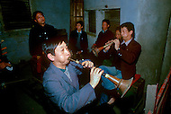 April 15th, 1989, Poyang, Jiangxi Province, China. Musicians of a traveling opera troupe always perform backstage while the actors are on the stage.