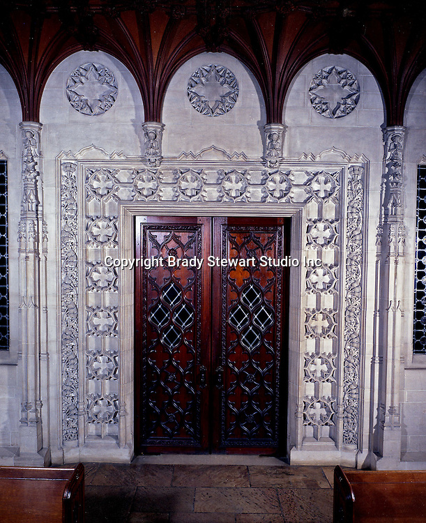 East Liberty section of Pittsburgh PA:  East Liberty Presbyterian Church; view of the interior main door at the north end of the Nave  - 1977. A similar Black and White image is included in the book; The Art and Architecture of the East Liberty Presbyterian Church.  This door is located at north end of the church and leads to the Narthex and main entrance.