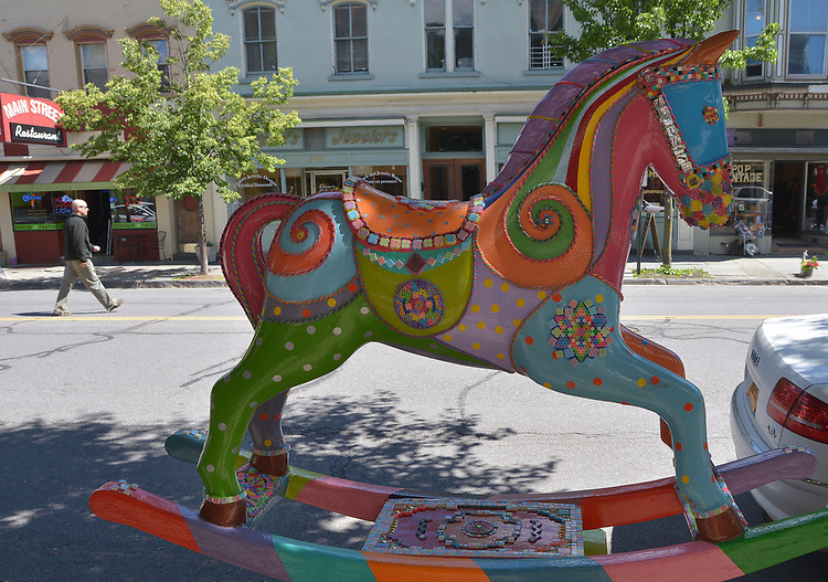 "A view of ""Child's Play"" created by artist, Jaquie Hann, one of the ""Rockin' Around Saugerties"" theme Statues on display throughout the Village of Saugerties, NY, on Sunday, June 4, 2017. Photo by Jim Peppler. Copyright/Jim Peppler-2017."