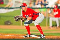 Orem Owlz first baseman Michael Snyder (29) on defense against the Ogden Raptors at Lindquist Field on July 28, 2012 in Ogden, Utah.  The Raptors defeated the Owlz 8-7.   (Brian Westerholt/Four Seam Images)