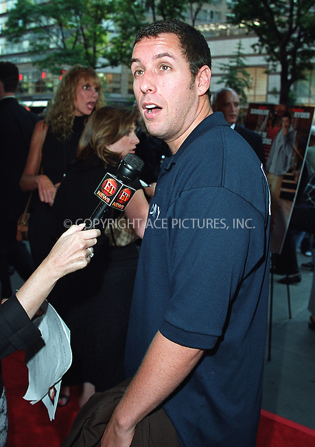 Adam Sandler arrives at the world premiere of Mr. Deeds in New York. June 18, 2002. Please byline: Alecsey Boldeskul/NY Photo Press.   ..*PAY-PER-USE*      ....NY Photo Press:  ..phone (646) 267-6913;   ..e-mail: info@nyphotopress.com