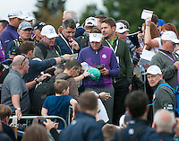 24.09.2014. Gleneagles, Auchterarder, Perthshire, Scotland.  The Ryder Cup.  Ian Poulter (EUR) signs autographs for fans during his practice round.