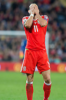 Gareth Bale of Wales looks dejected after missing a chance during the FIFA World Cup Qualifier match between Wales and Georgia at the Cardiff City Stadium, Cardiff, Wales on 9 October 2016. Photo by Mark  Hawkins / PRiME Media Images.