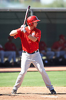 Los Angeles Angels minor league infielder Michael Bolaski #17 during an instructional league game against the Arizona Diamondbacks at the Tempe Diablo Minor League Complex on October 1, 2012 in Tempe, Arizona.  (Mike Janes/Four Seam Images)