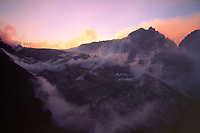 Sunrise at rarely seen West gap area on west side of Pu'u o'o vent 10-04-03, Hawaii Volcanoes National Park, Big Island, Hawaii, USA