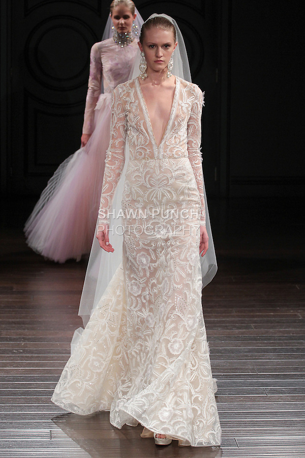 Model walks runway in a Dominica bridal gown from the Naeem Khan Bridal Spring 2017 collection at 260 West 36 Street, during New York Bridal Fashion Week Spring Summer 2017 on April 16, 2016.
