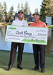 August 7, 2011:  Scott Piercy, left, from Las Vegas, Nevada is presented the Champions check by tournament host Scott McCarron after winning the Reno-Tahoe Open at Montrêux.